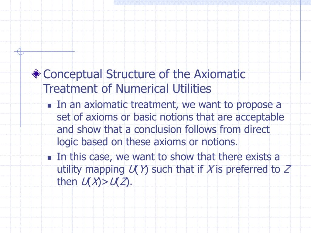 Conceptual Structure of the Axiomatic Treatment of Numerical Utilities