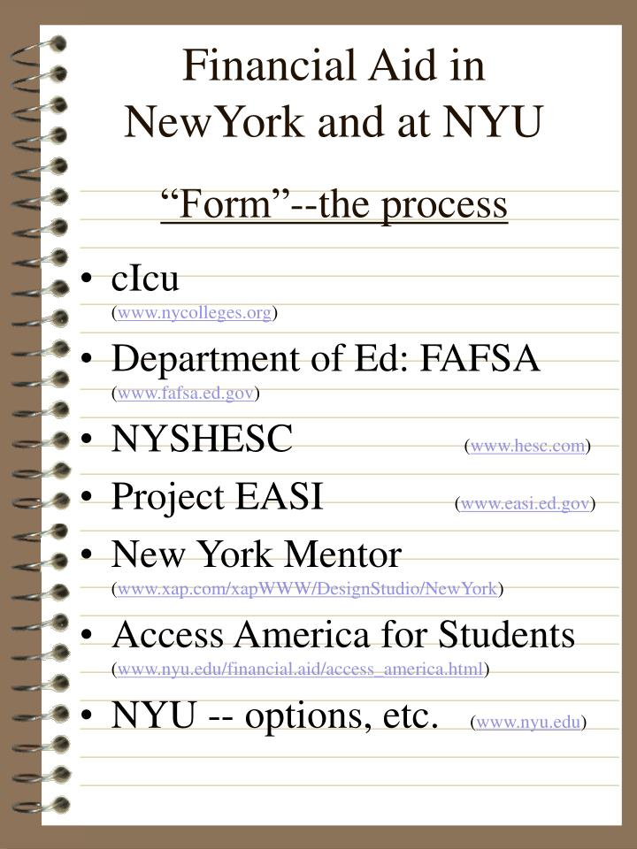 Financial aid in newyork and at nyu form the process