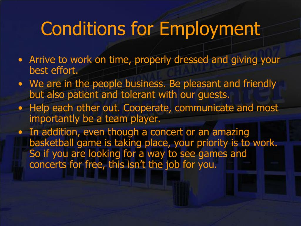 Conditions for Employment