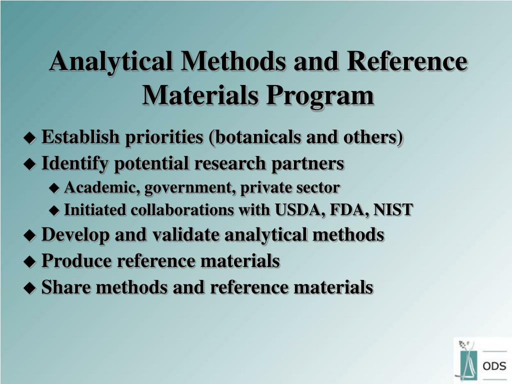 Analytical Methods and Reference Materials Program