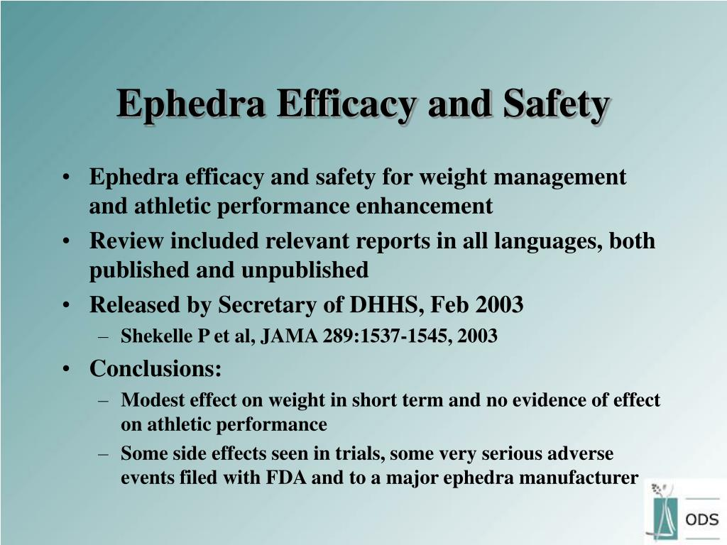 Ephedra Efficacy and Safety