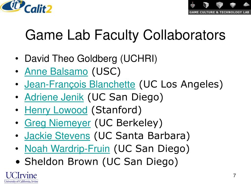 Game Lab Faculty Collaborators
