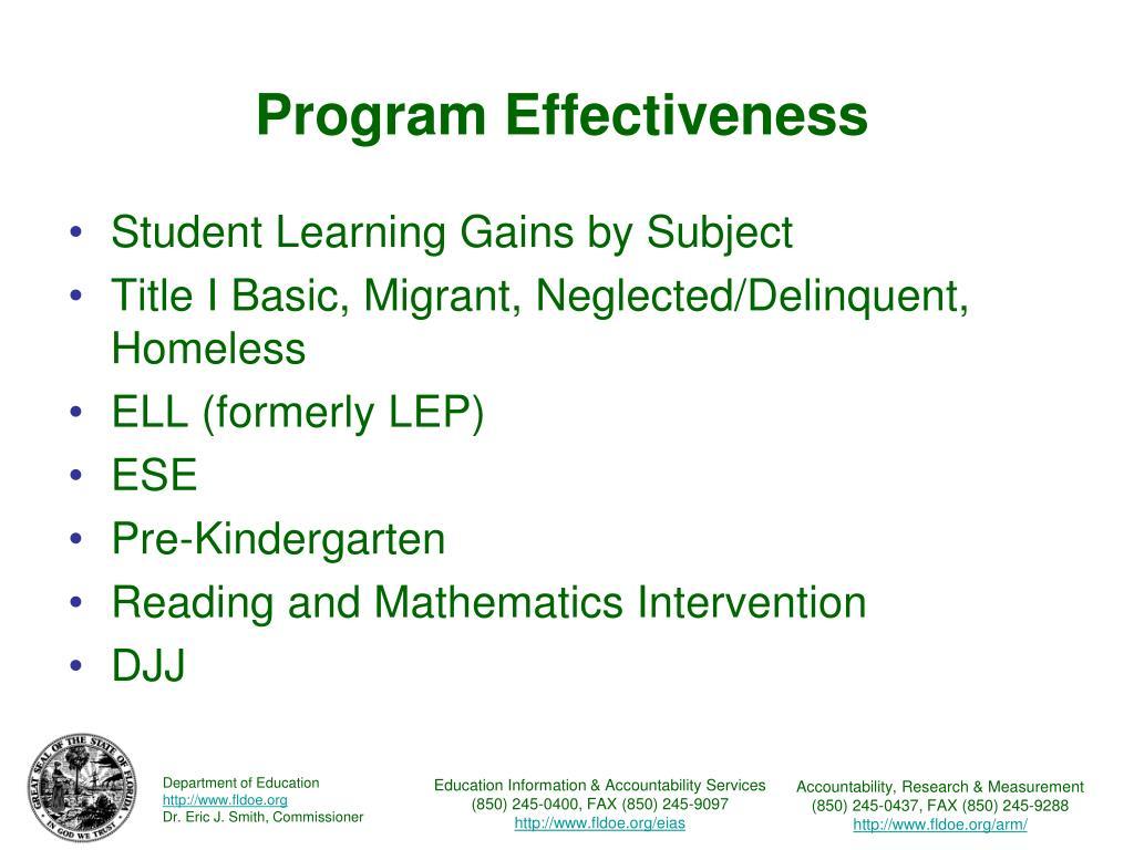 Program Effectiveness