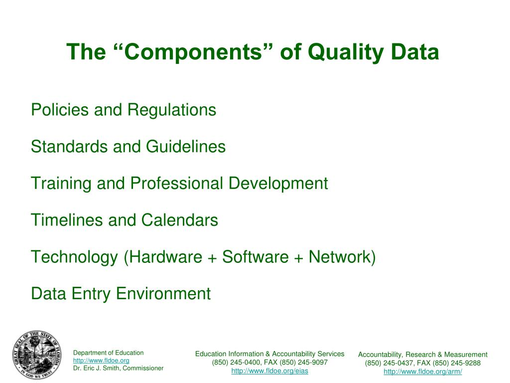 "The ""Components"" of Quality Data"