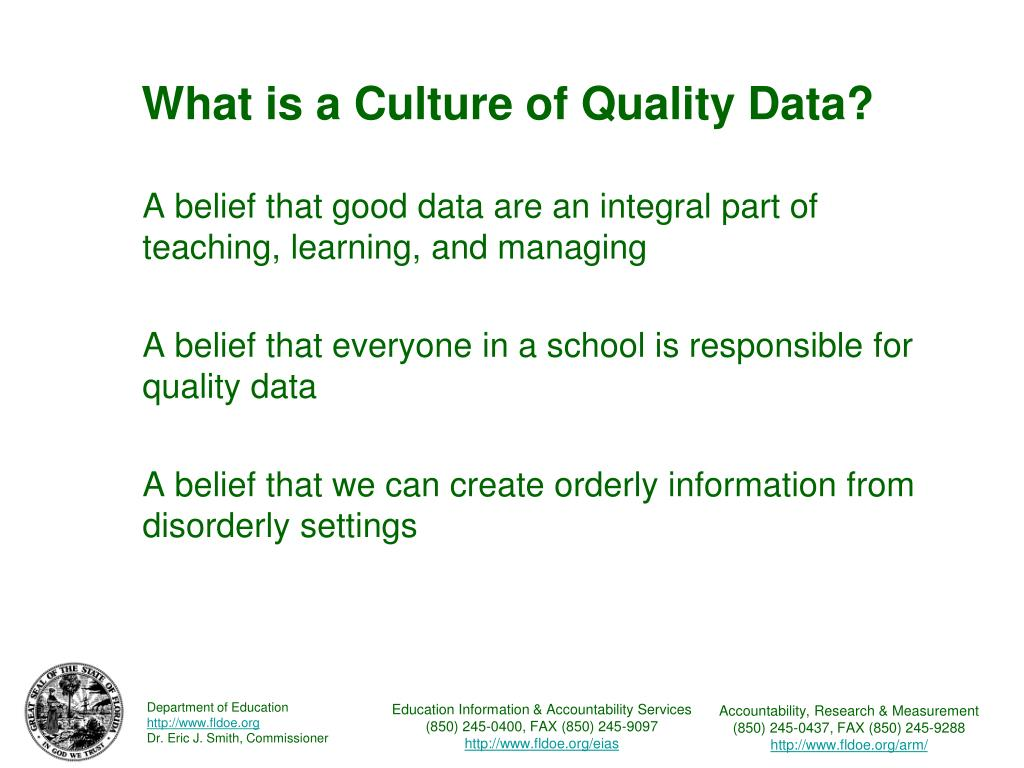 What is a Culture of Quality Data?