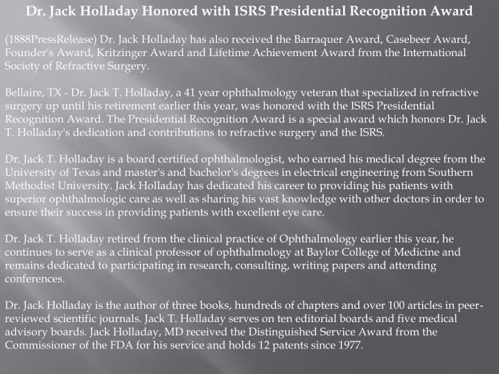 Dr. Jack Holladay Honored with ISRS Presidential Recognition Award