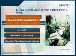 3 have a clear view of what each learner is doing
