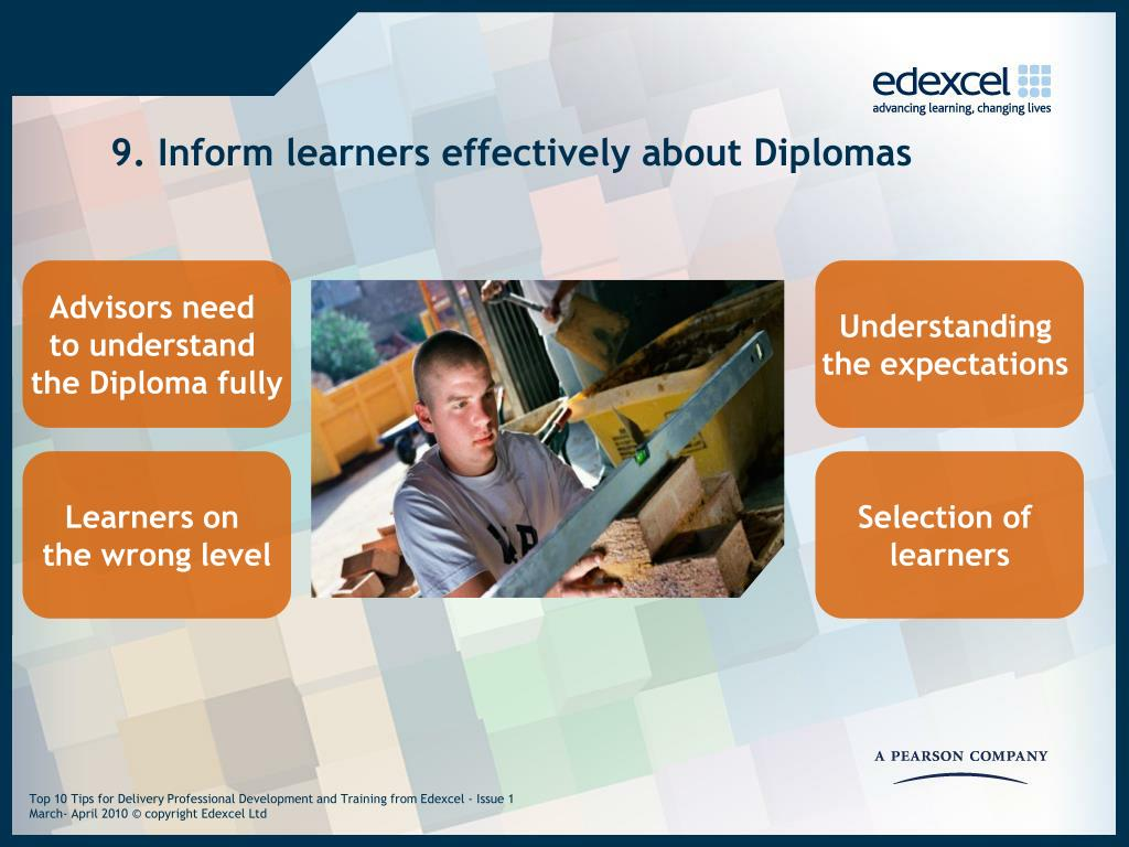 9. Inform learners effectively about Diplomas