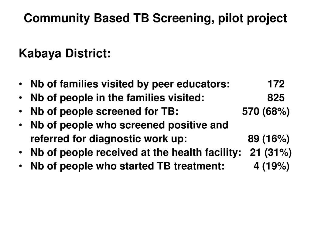 Community Based TB Screening, pilot project
