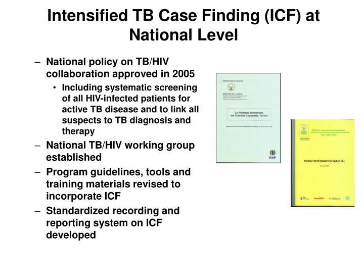 Intensified tb case finding icf at national level