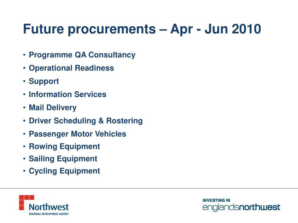 Future procurements – Apr - Jun 2010