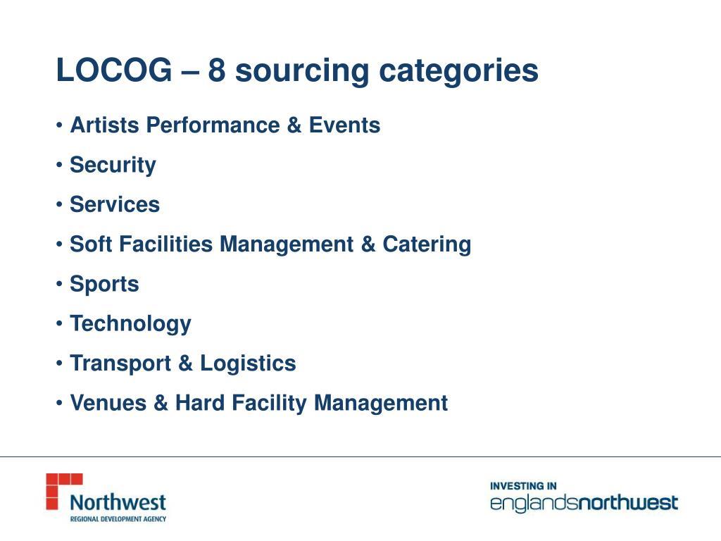 LOCOG – 8 sourcing categories