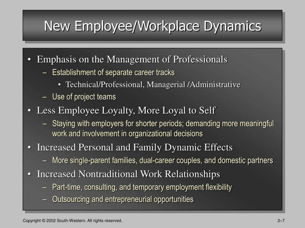New Employee/Workplace Dynamics