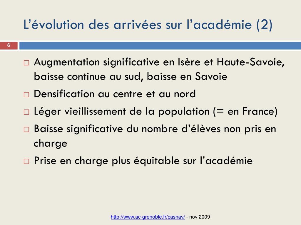 L'évolution des arrivées sur l'académie (2)