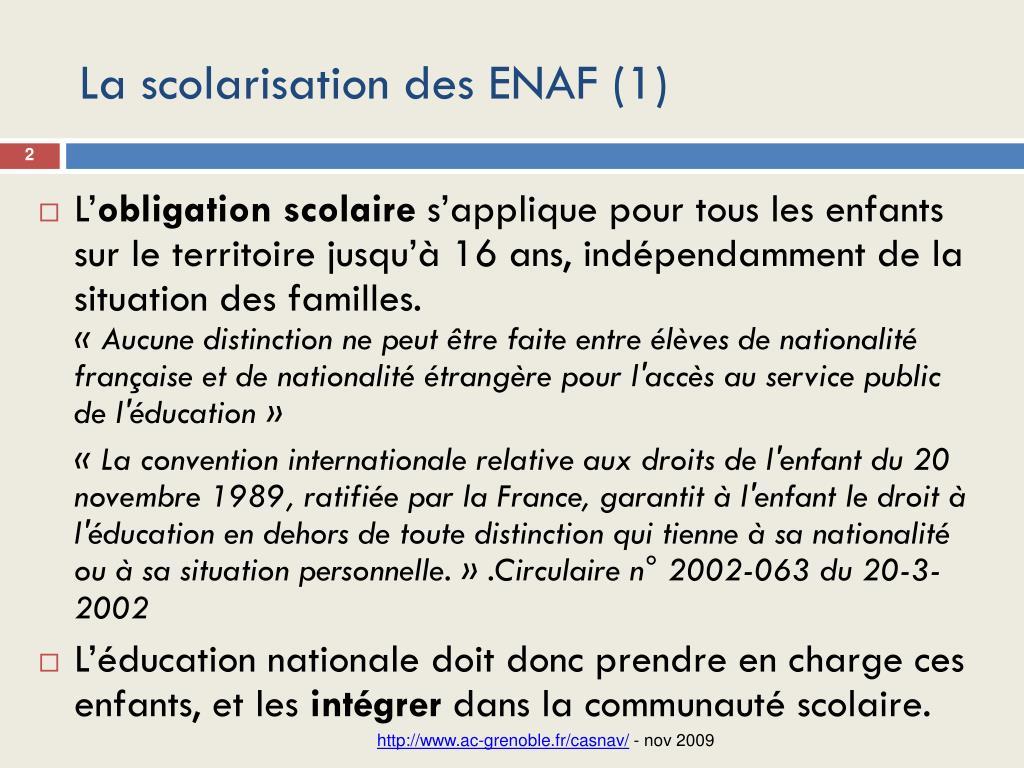 La scolarisation des ENAF (1)
