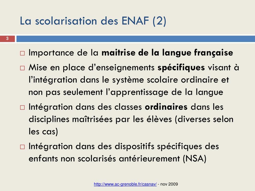La scolarisation des ENAF (2)