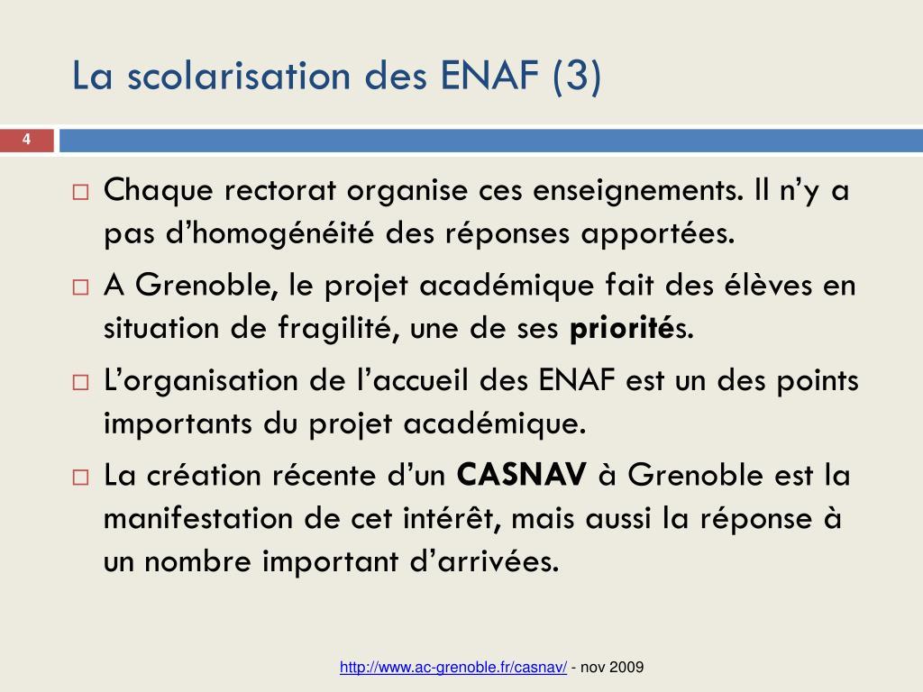 La scolarisation des ENAF (3)