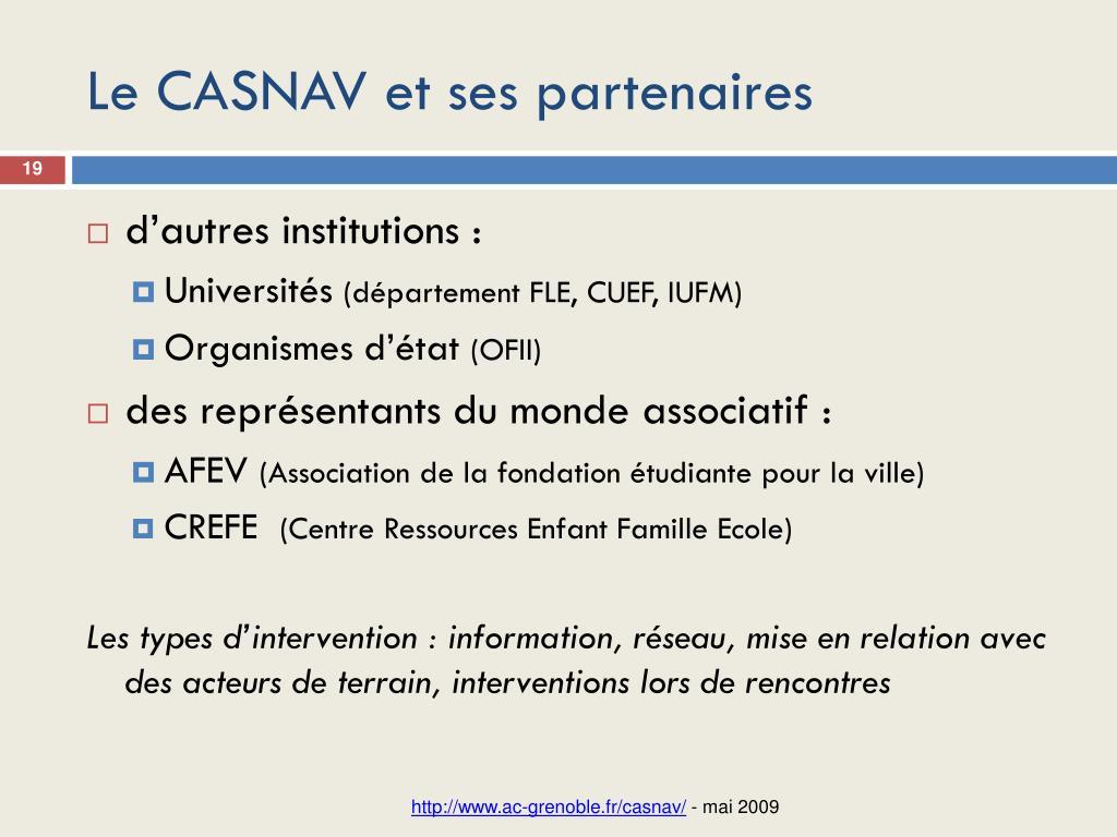 Le CASNAV et ses partenaires