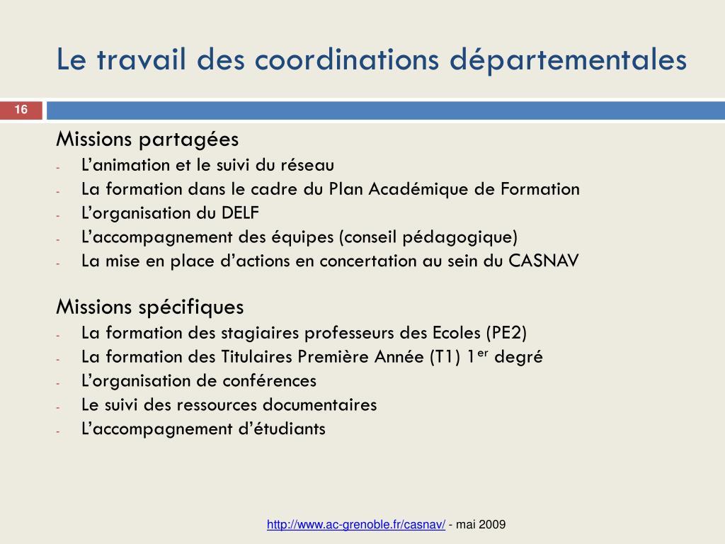 Le travail des coordinations départementales