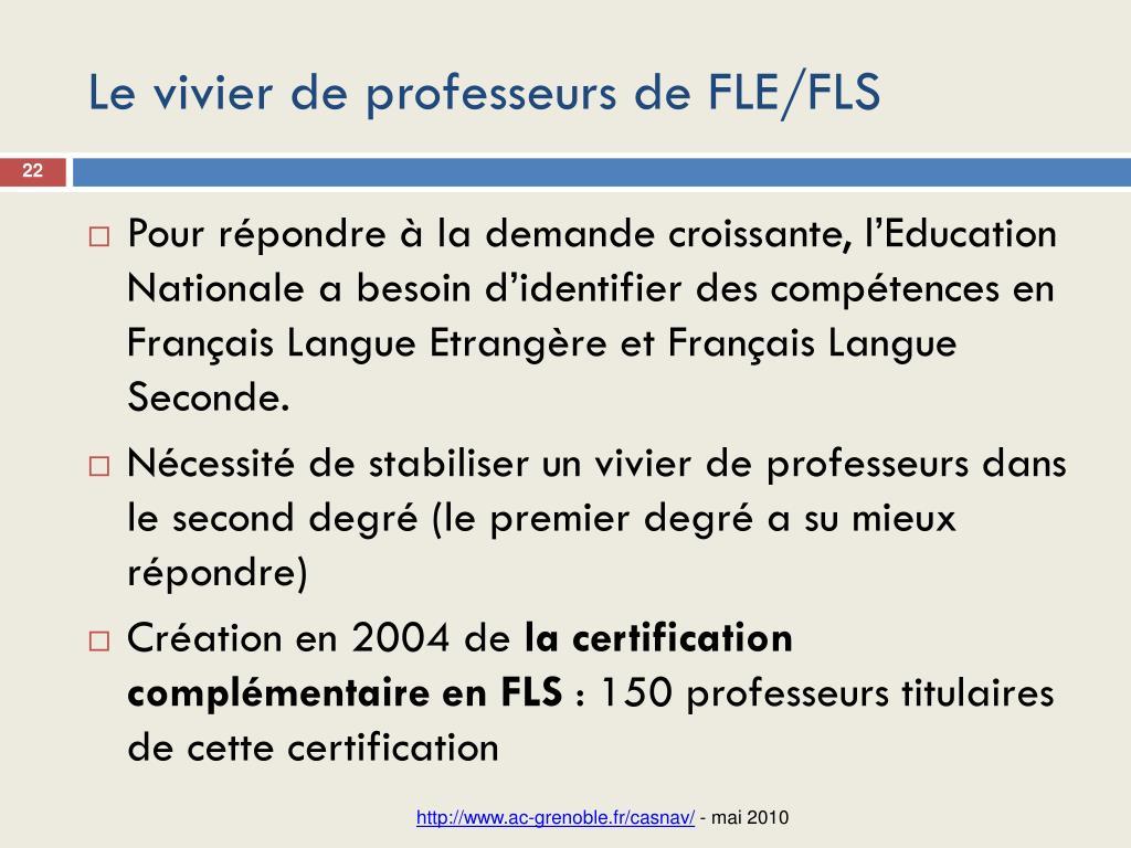 Le vivier de professeurs de FLE/FLS
