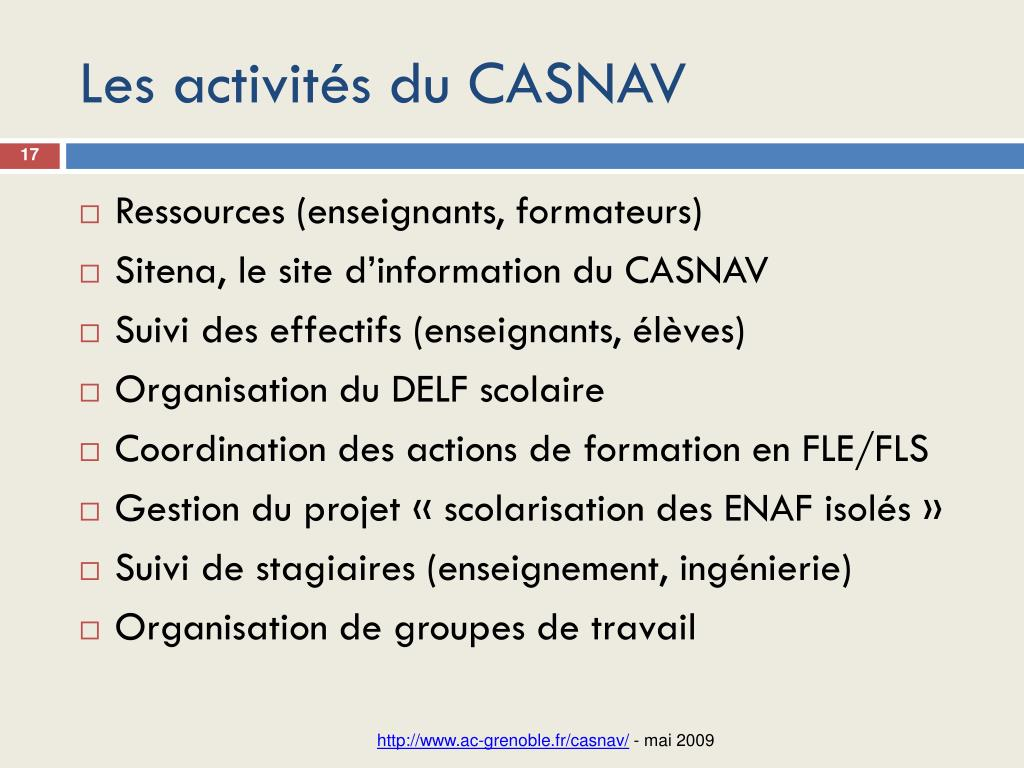 Les activités du CASNAV
