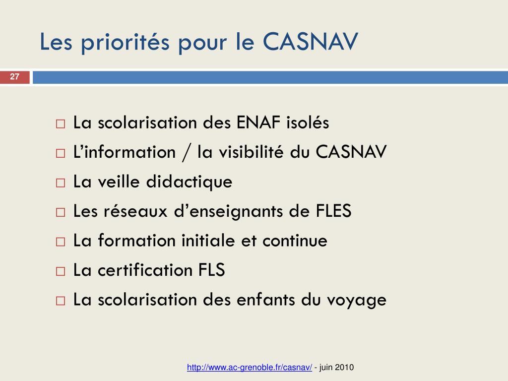 Les priorités pour le CASNAV
