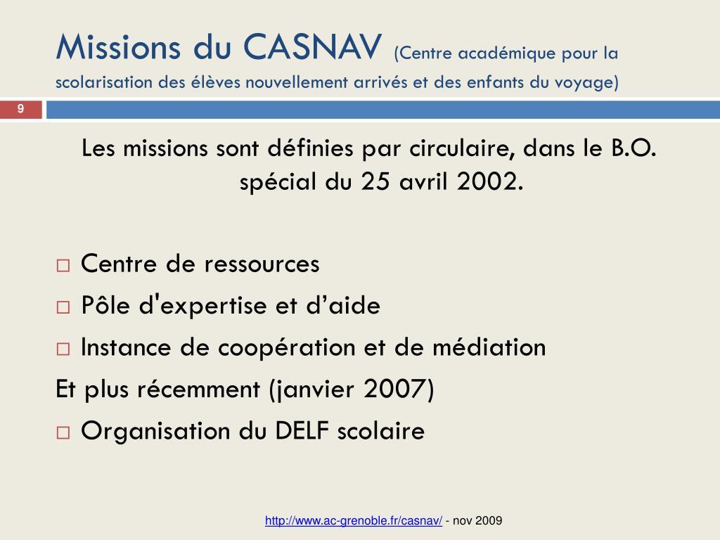 Missions du CASNAV