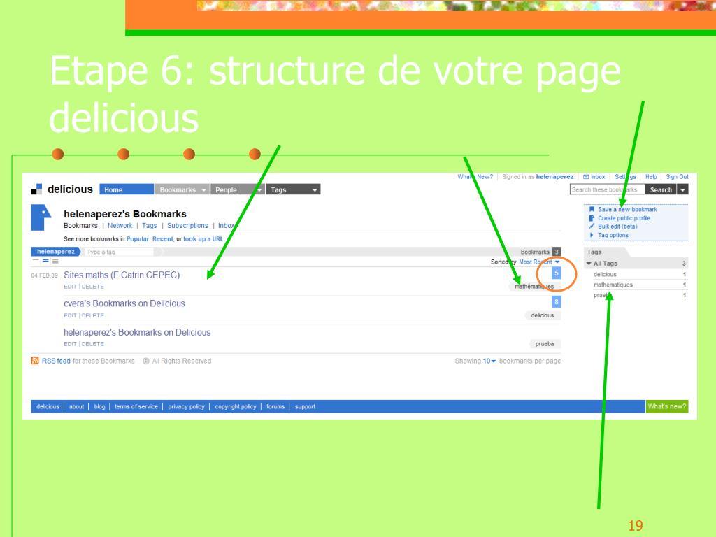 Etape 6: structure de votre page delicious
