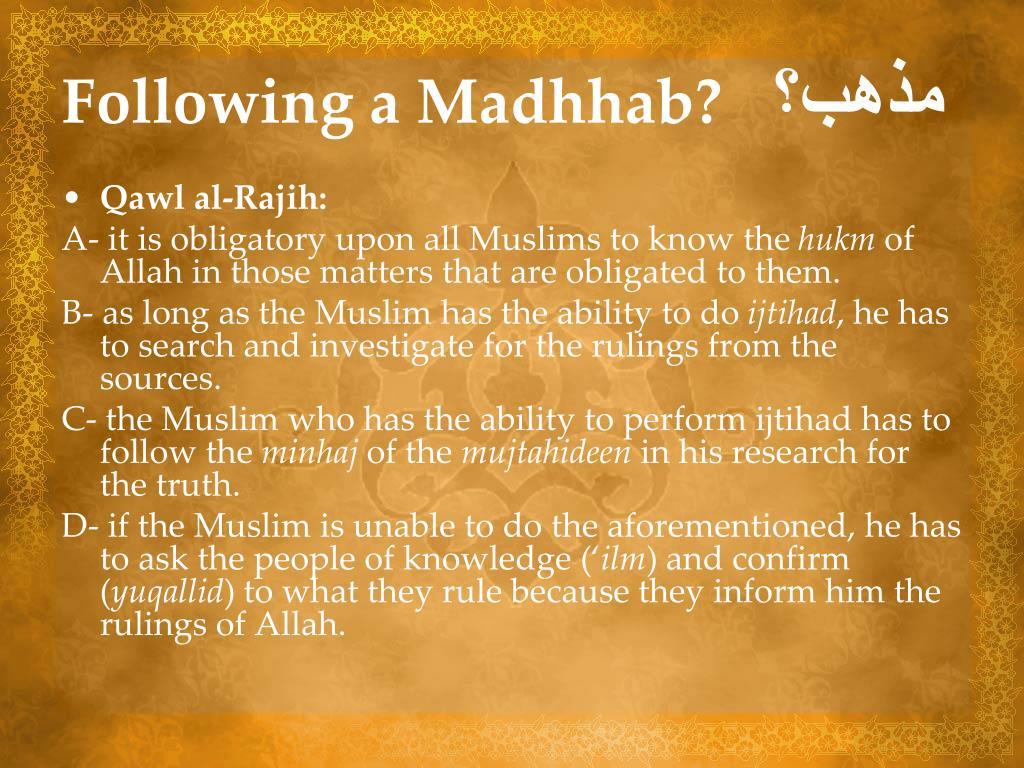 Following a Madhhab?