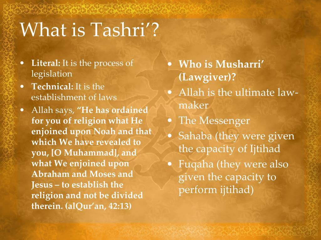 What is Tashri'?