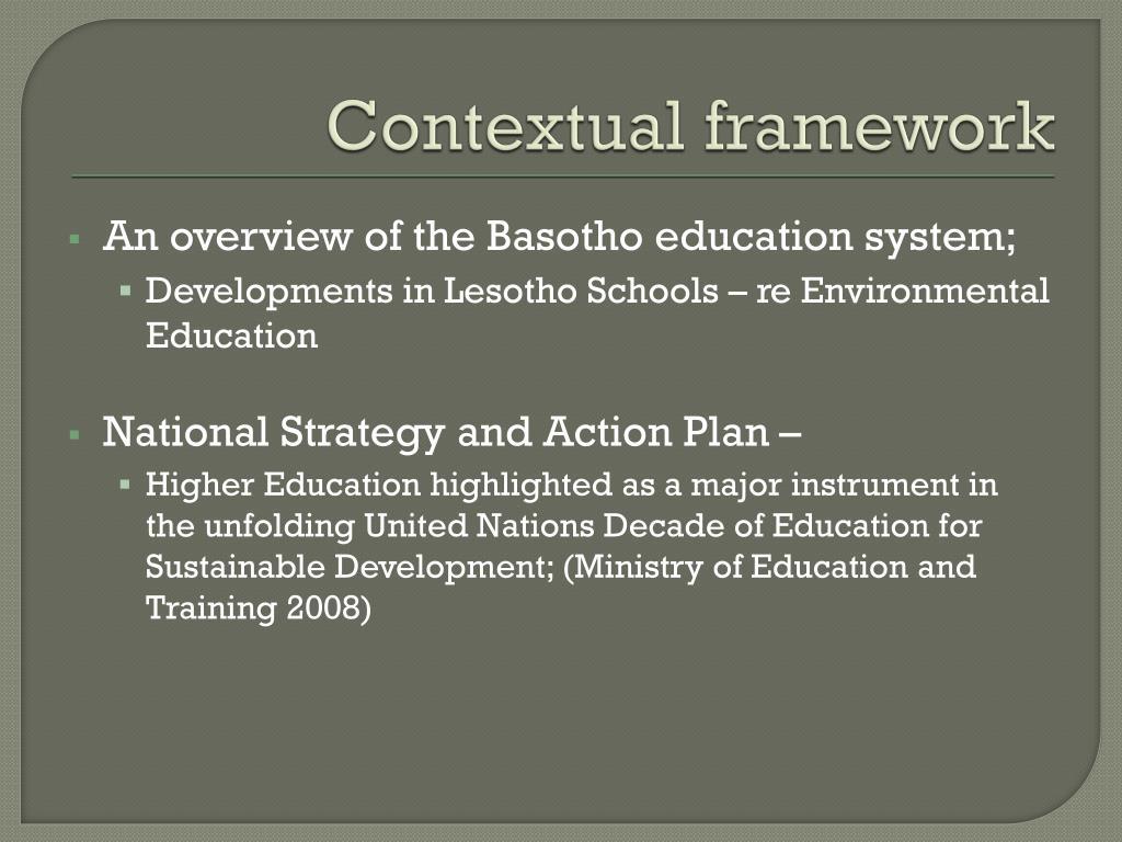 Contextual framework