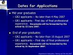 dates for applications