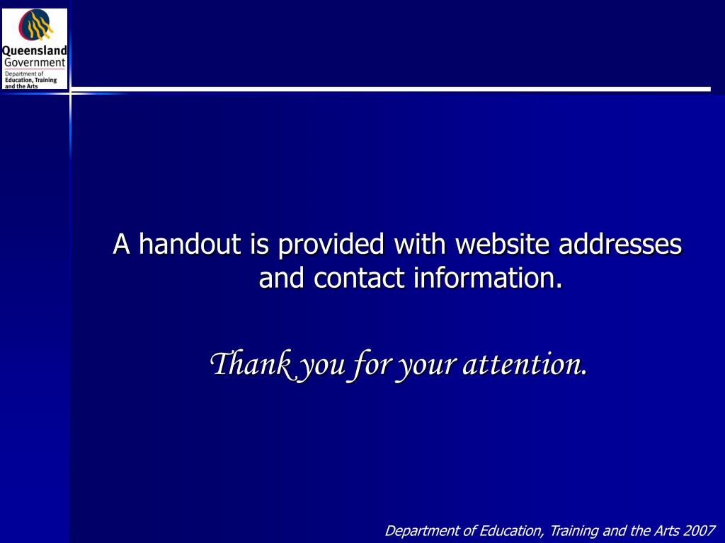 A handout is provided with website addresses and contact information.