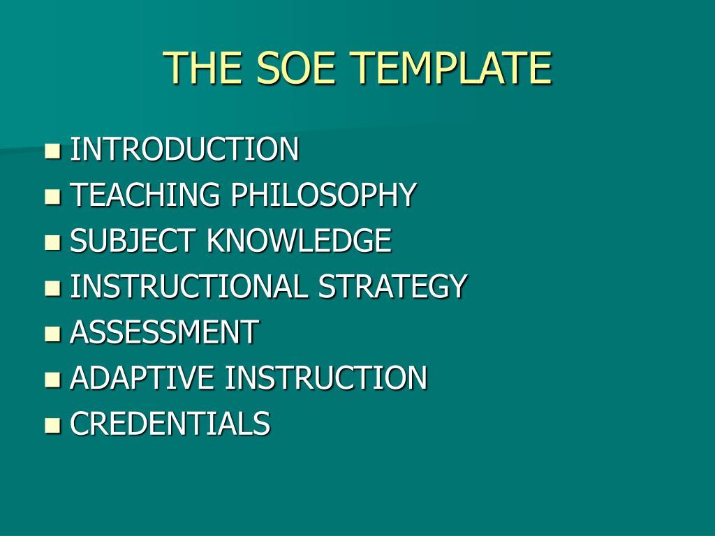 THE SOE TEMPLATE