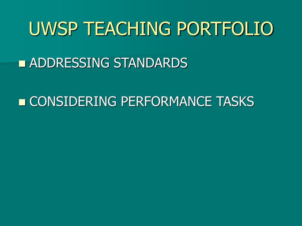UWSP TEACHING PORTFOLIO