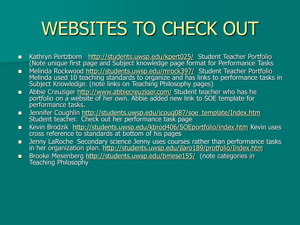 WEBSITES TO CHECK OUT
