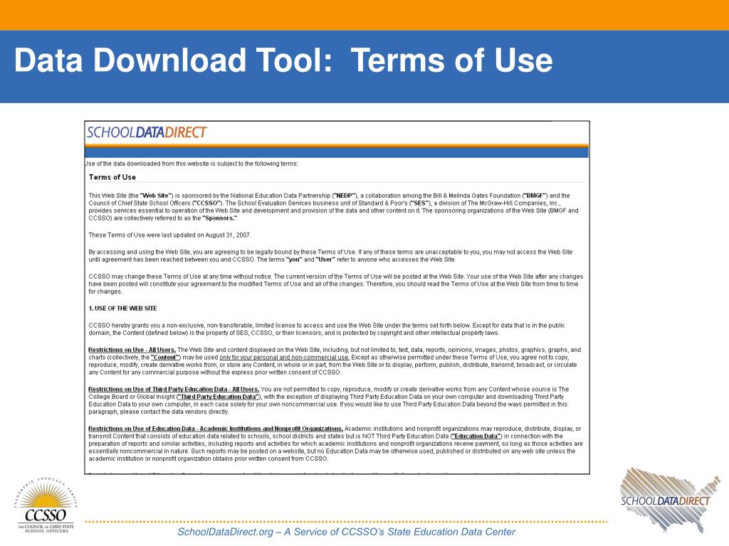 Data Download Tool:  Terms of Use