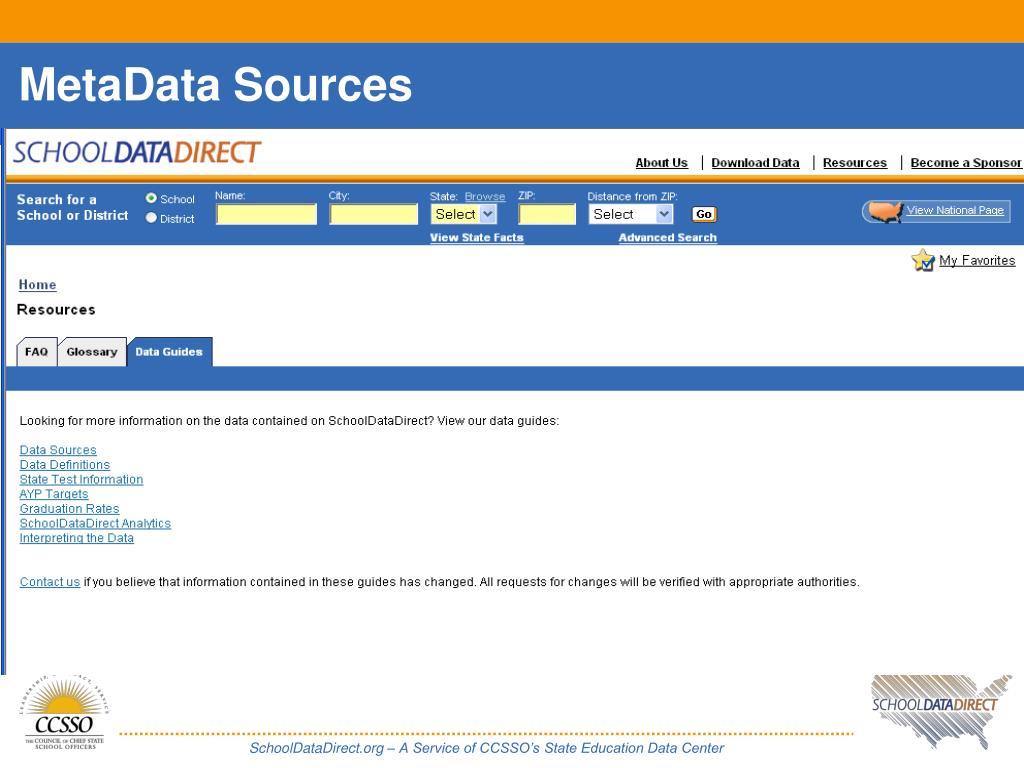 MetaData Sources