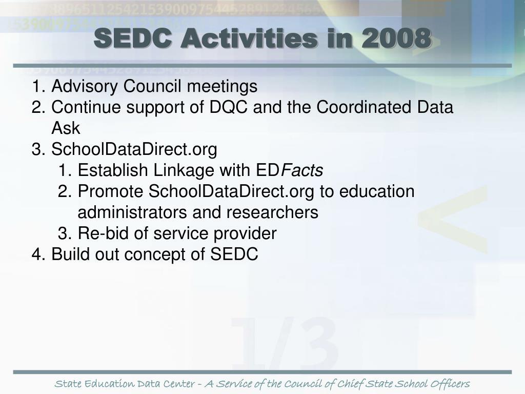 SEDC Activities in 2008