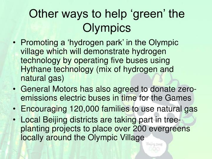 Other ways to help 'green' the Olympics
