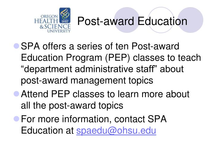 Post-award Education