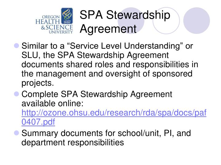 SPA Stewardship Agreement