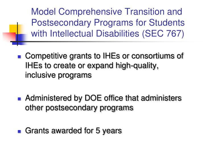 Model Comprehensive Transition and Postsecondary Programs for Students with Intellectual Disabilities (SEC 767)