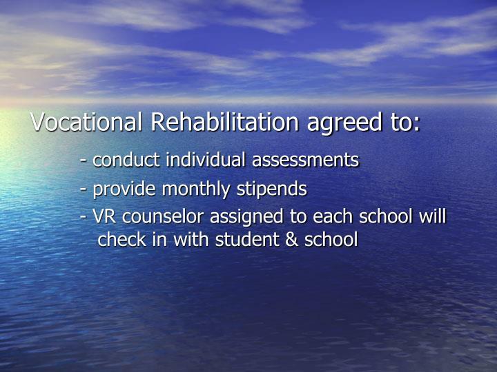 Vocational Rehabilitation agreed to: