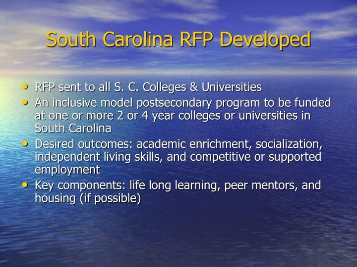 South Carolina RFP Developed