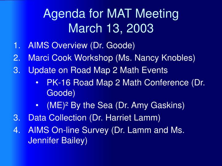 Agenda for mat meeting march 13 2003