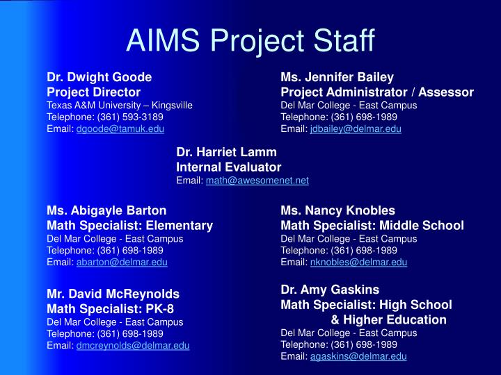 AIMS Project Staff