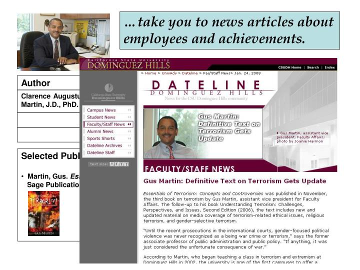 …take you to news articles about employees and achievements.