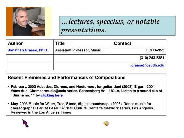 …lectures, speeches, or notable presentations.