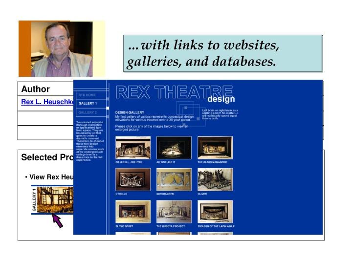 …with links to websites, galleries, and databases.